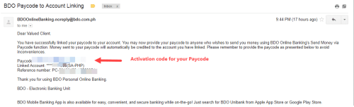 Activation Code for BDO account Paycode