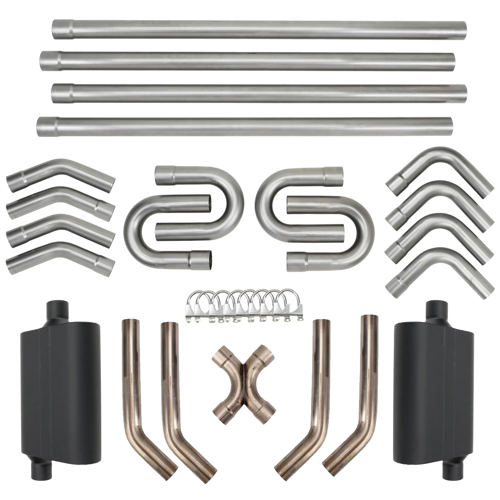 diy universal dual exhaust system kit w x pipe mufflers 2 1 4