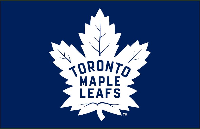 Toronto Maple Leafs Logo Primary Dark Logo (2016/17-Pres) - Toronto Maple Leafs primary logo on blue SportsLogos.Net