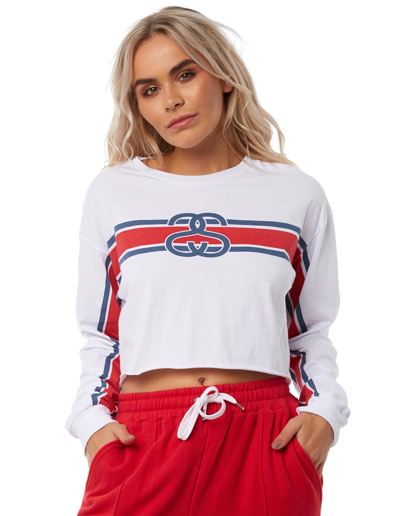 Stussy Tracks Crop Ls Tee White Womens shirts Size 10  5eeeeb3c7a
