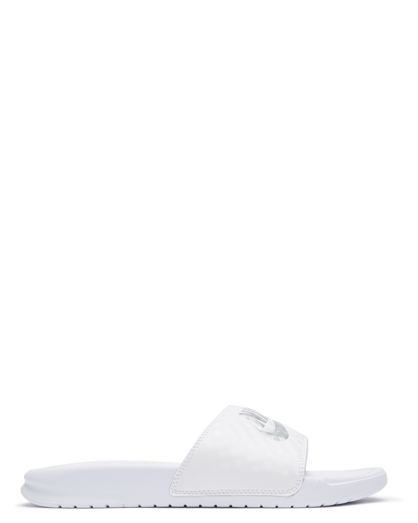 d199c4a0870dc4 Nike Womens Nike Benassi Slide Wht Metallic Silver Wht Metallic Silver