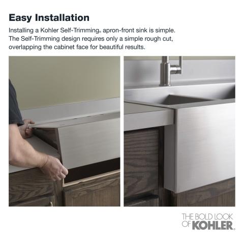 kohler vault farmhouse apron front 35 75 in x 24 3125 in single bowl 2 hole kitchen sink