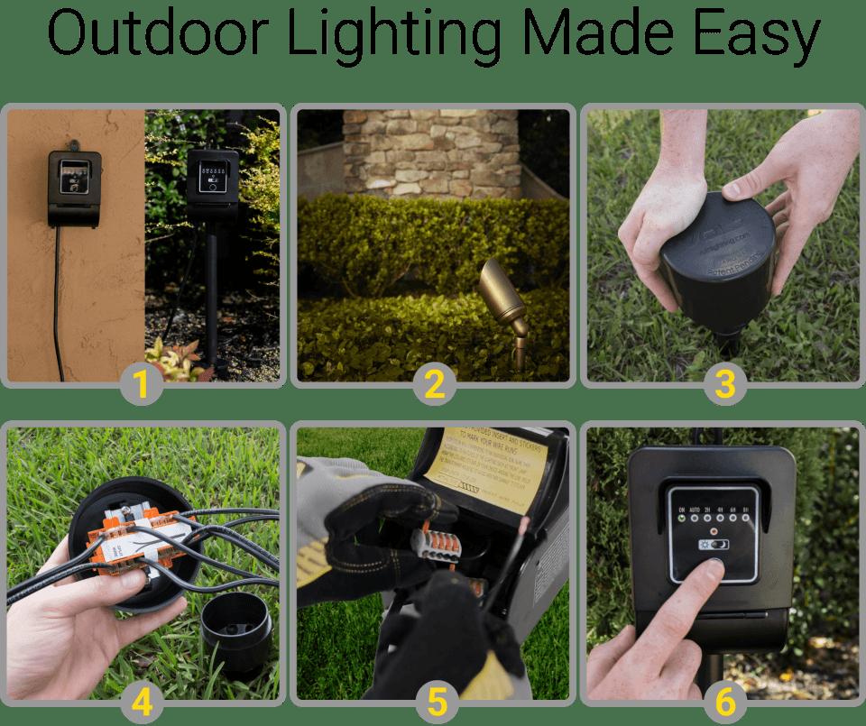 volt landscape lighting 9 piece path area light brass led starter kit