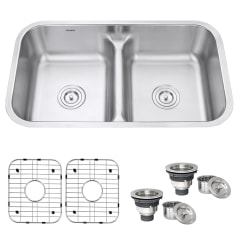 ruvati parmi undermount 32 in x 18 875 in brushed stainless steel double offset bowl kitchen sink