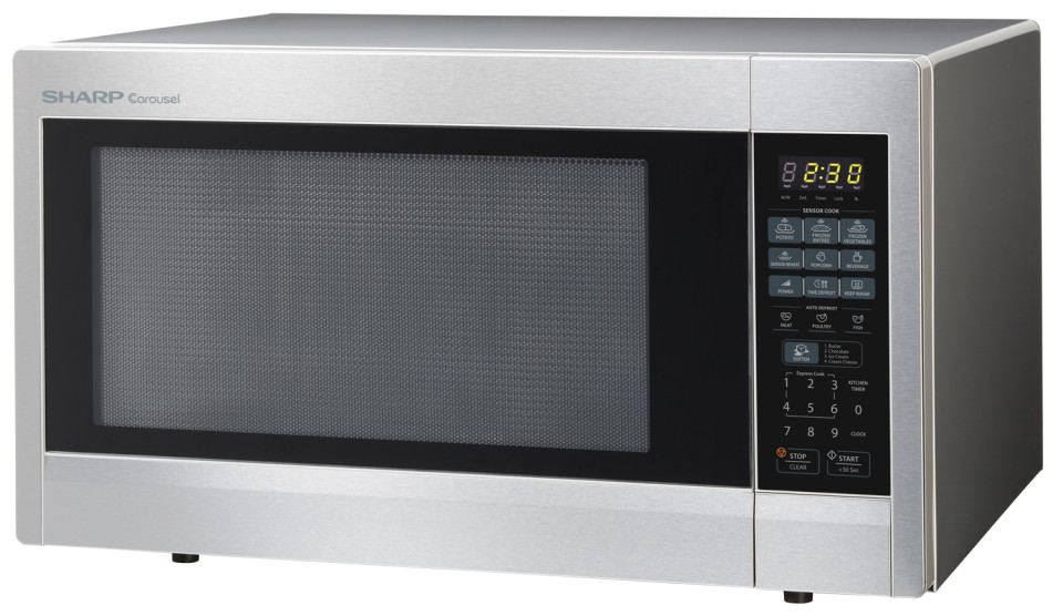 sharp carousel 2 2 cu ft 1200 watt countertop microwave stainless steel