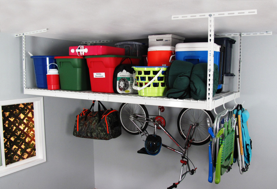 saferacks 4 ft x 8 ft overhead garage storage rack and accessories kit
