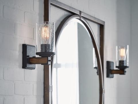 kichler barrington 14 in distressed black and wood tone rustic incandescent semi flush mount light