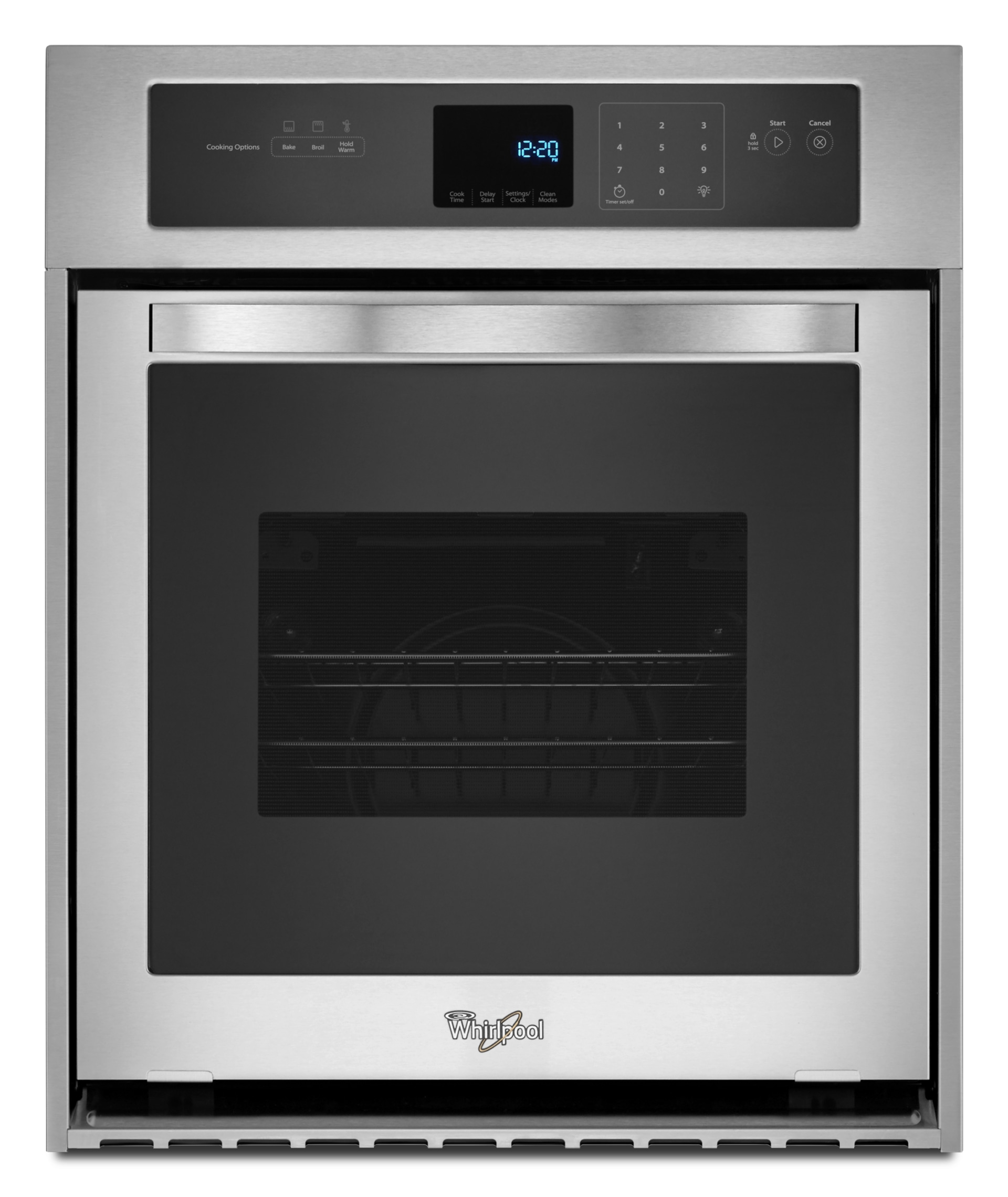wos51es4es whirlpool 24 inch wide 3 1 cu ft single wall oven with high heat self cleaning system stainless steel