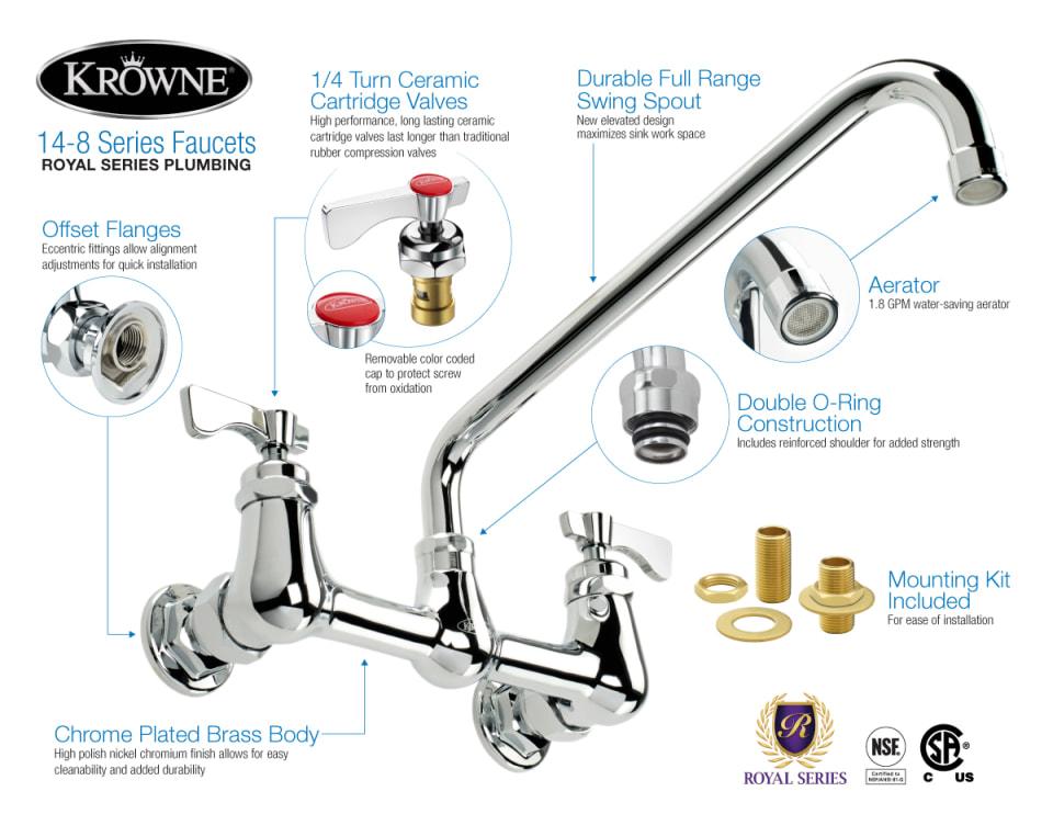 krowne wall mount low arc service sink faucet 52906534 msc industrial supply