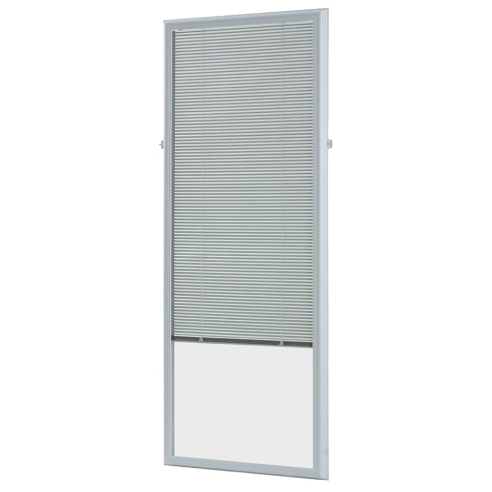 odl add on blind 0 59 in slat width 22 in x 64 in cordless white aluminum light filtering full view standard mini blinds