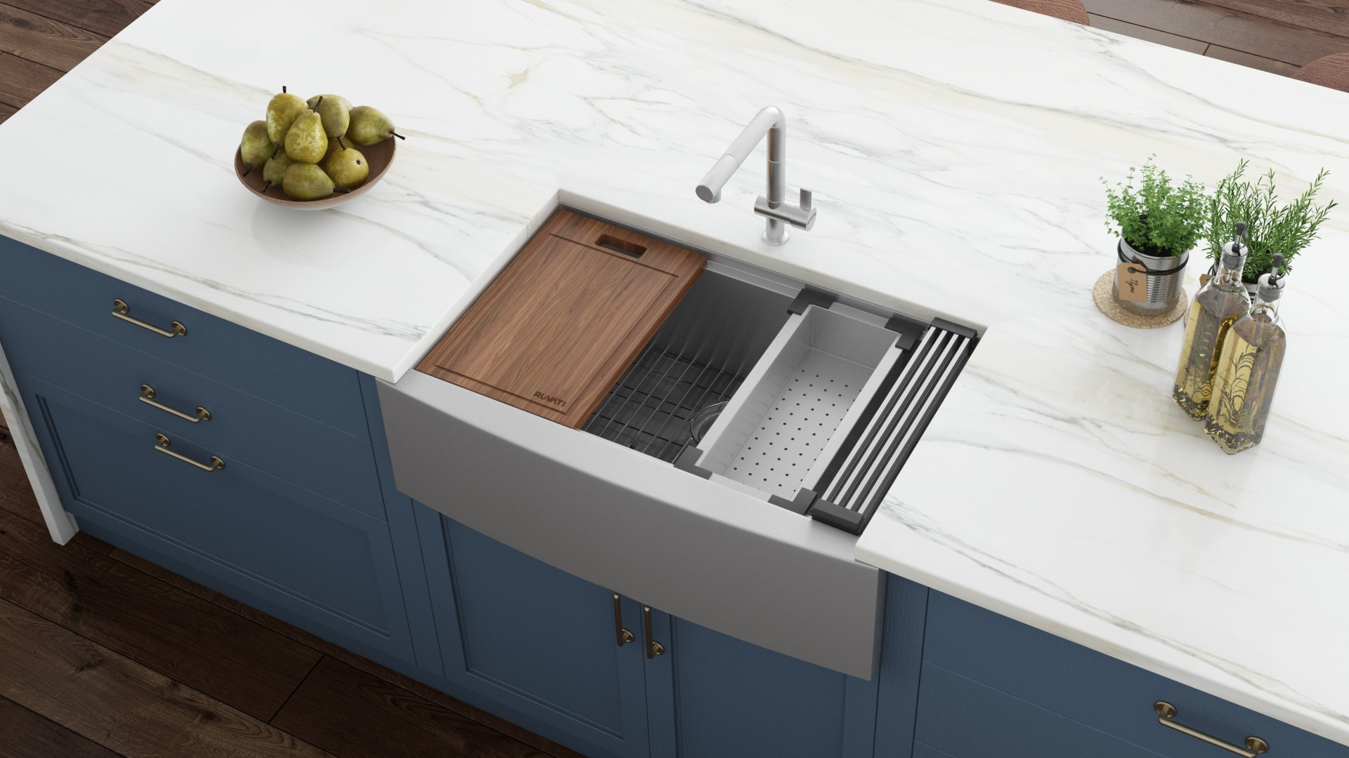 ruvati verona farmhouse apron front 33 in x 22 in stainless steel single bowl workstation kitchen sink