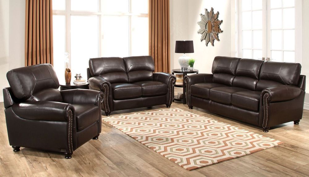 tuscany 3 piece leather living room set