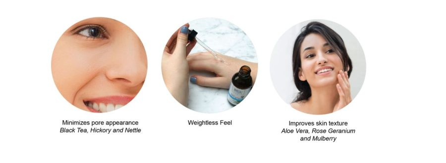 Minimizes pore appearance, weightless feel, improves skin texture