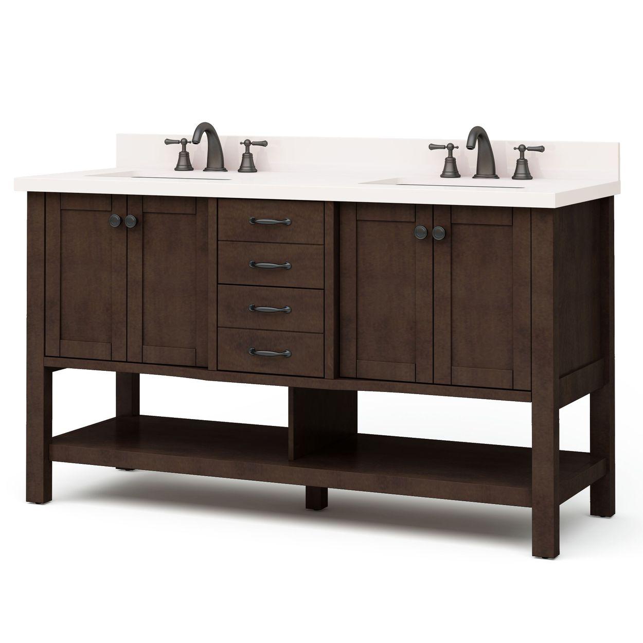 allen roth kingscote 60 in espresso double sink bathroom vanity with espresso engineered stone top