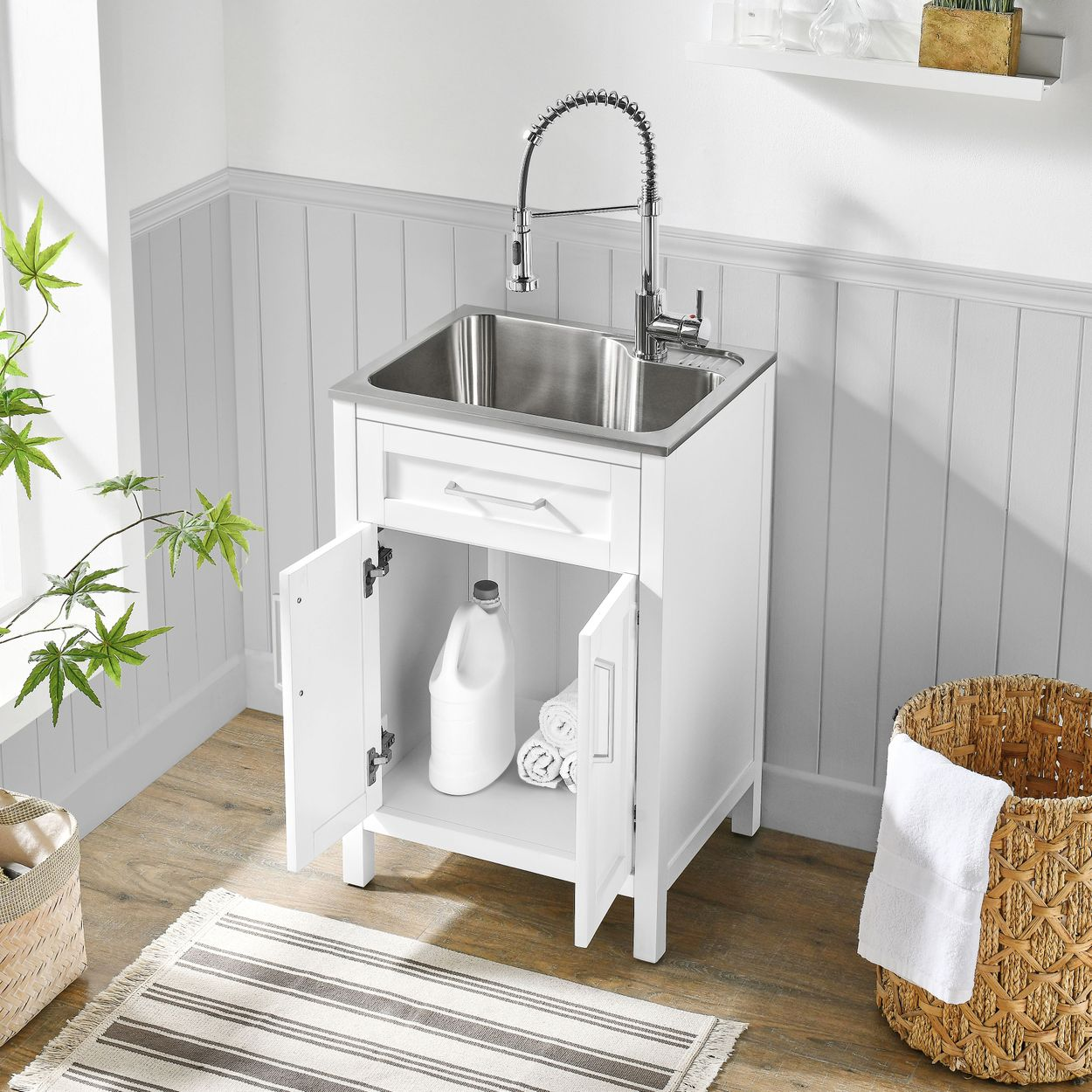 ove decors paloma 22 utility sink with faucet cabinet