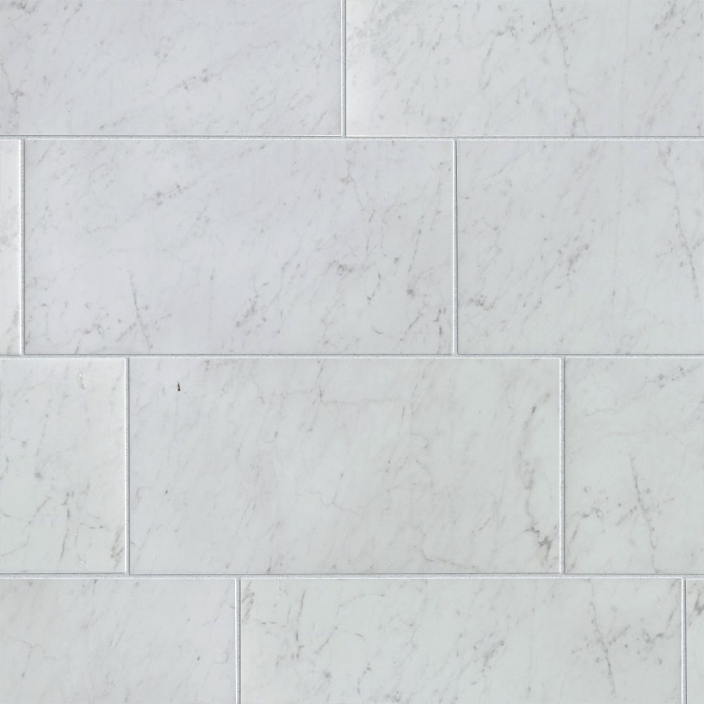 style selections futuro white 12 in x 24 in glazed porcelain marble look floor and wall tile