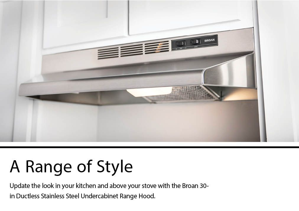 broan 30 in ductless stainless steel black undercabinet range hood with charcoal filter