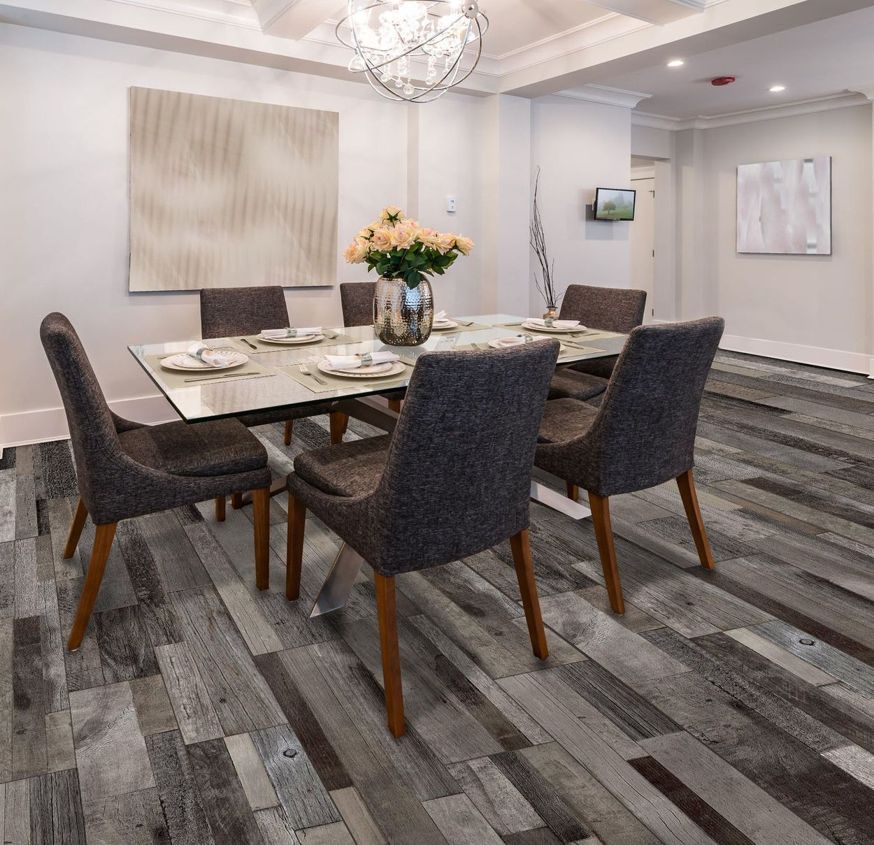 style selections eastport charcoal 8 in x 48 in glazed porcelain wood look floor and wall tile
