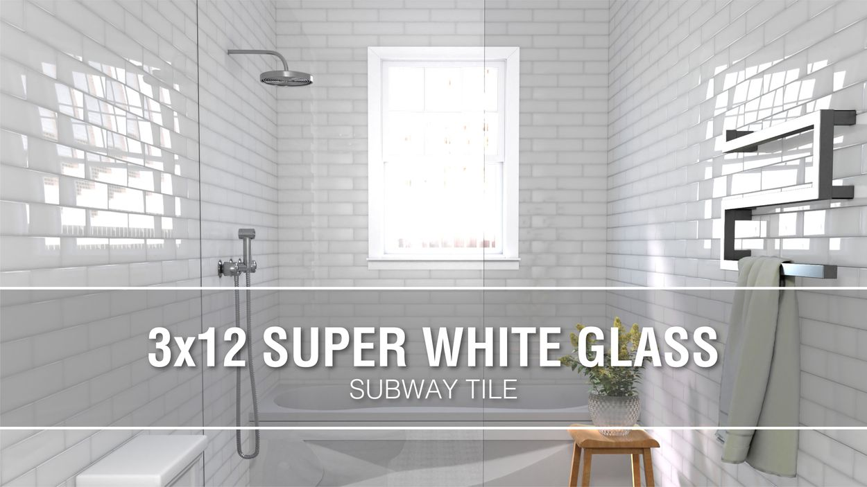 elida ceramica 3x12 super white glass 3 in x 12 in glossy glass subway wall tile