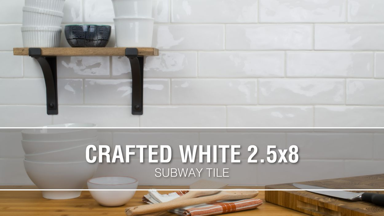 boutique ceramic hand crafted white 3 in x 8 in glazed ceramic brick subway wall tile