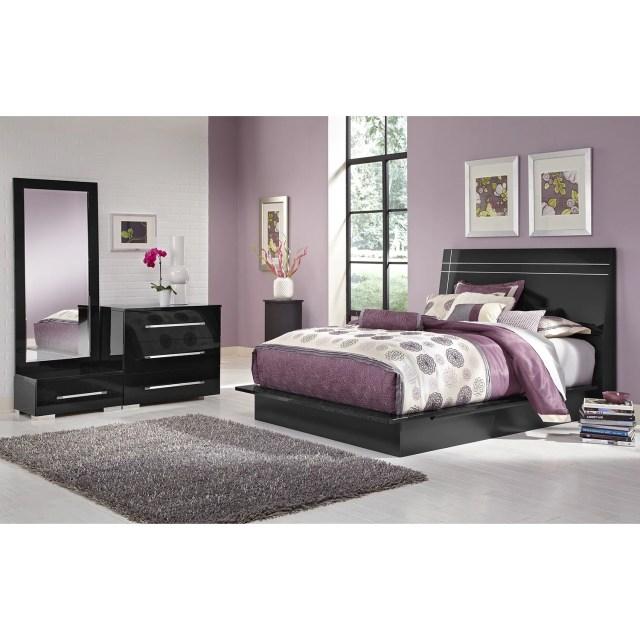 Dimora 5 Piece Queen Panel Bedroom Set Black