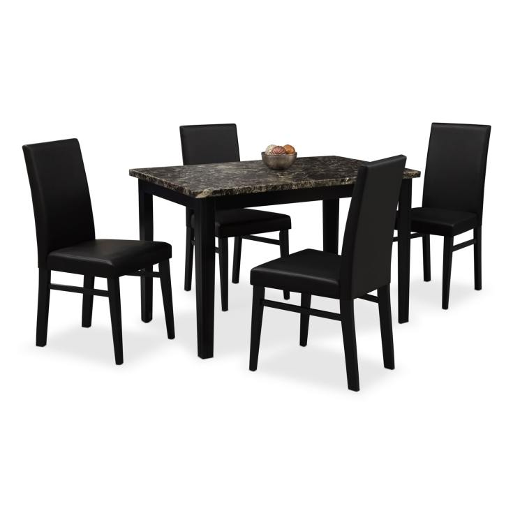 shadow table and 4 chairs - black | value city furniture and mattresses