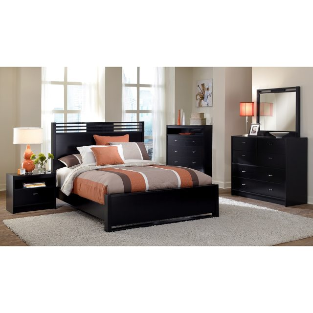 Bally 7 Piece King Bedroom Set with Chest Black