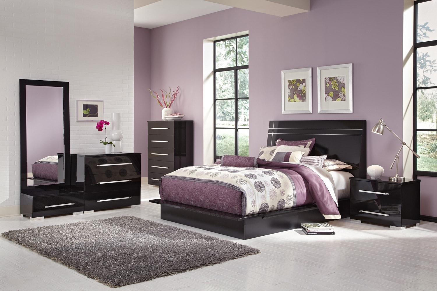 dimora 7-piece queen panel bedroom set - black | value city
