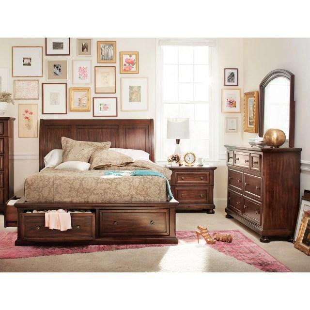 Hanover 6 Piece King Storage Bedroom Set Cherry
