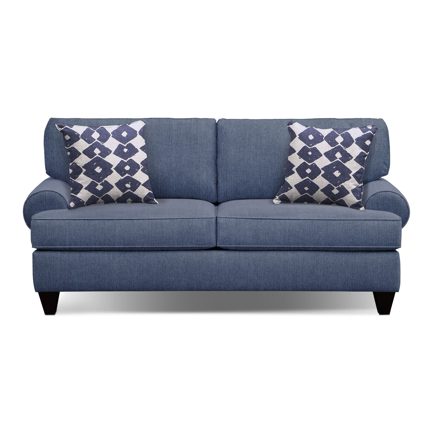 Sleeper Sofas   Value City Furniture   Value City Furniture and     Bailey Blue 79  Innerspring Sleeper Sofa