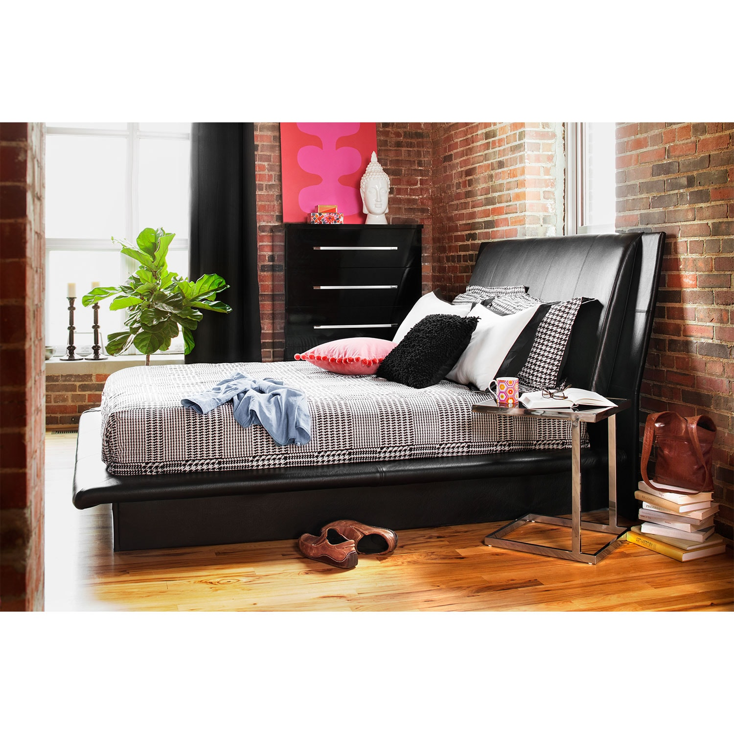dimora queen upholstered bed - black | value city furniture and