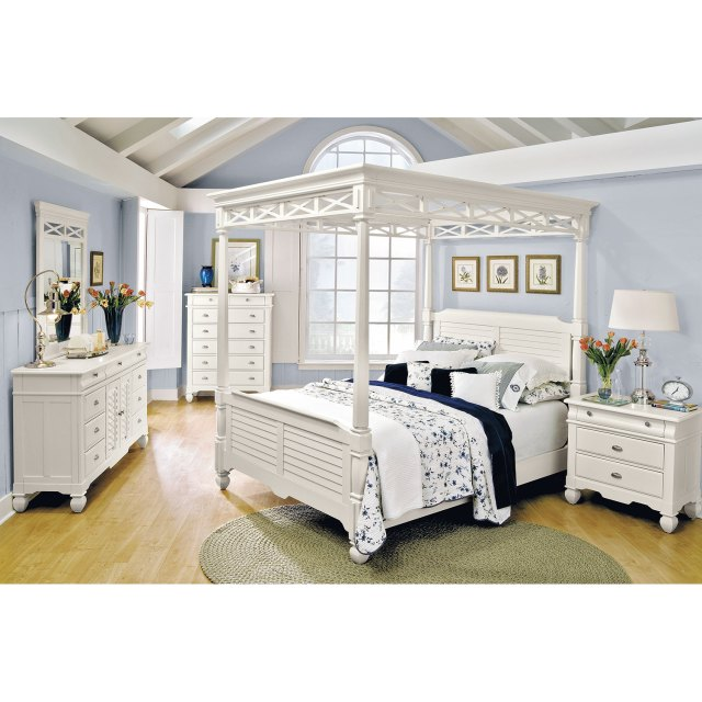 Plantation Cove 5 Piece King Canopy Bedroom Set White
