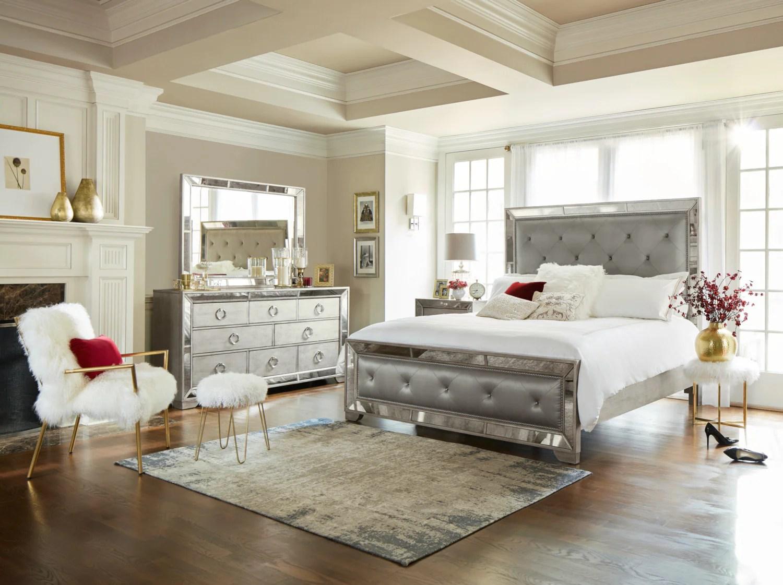 Angelina 6 Piece Queen Upholstered Bedroom Set Metallic