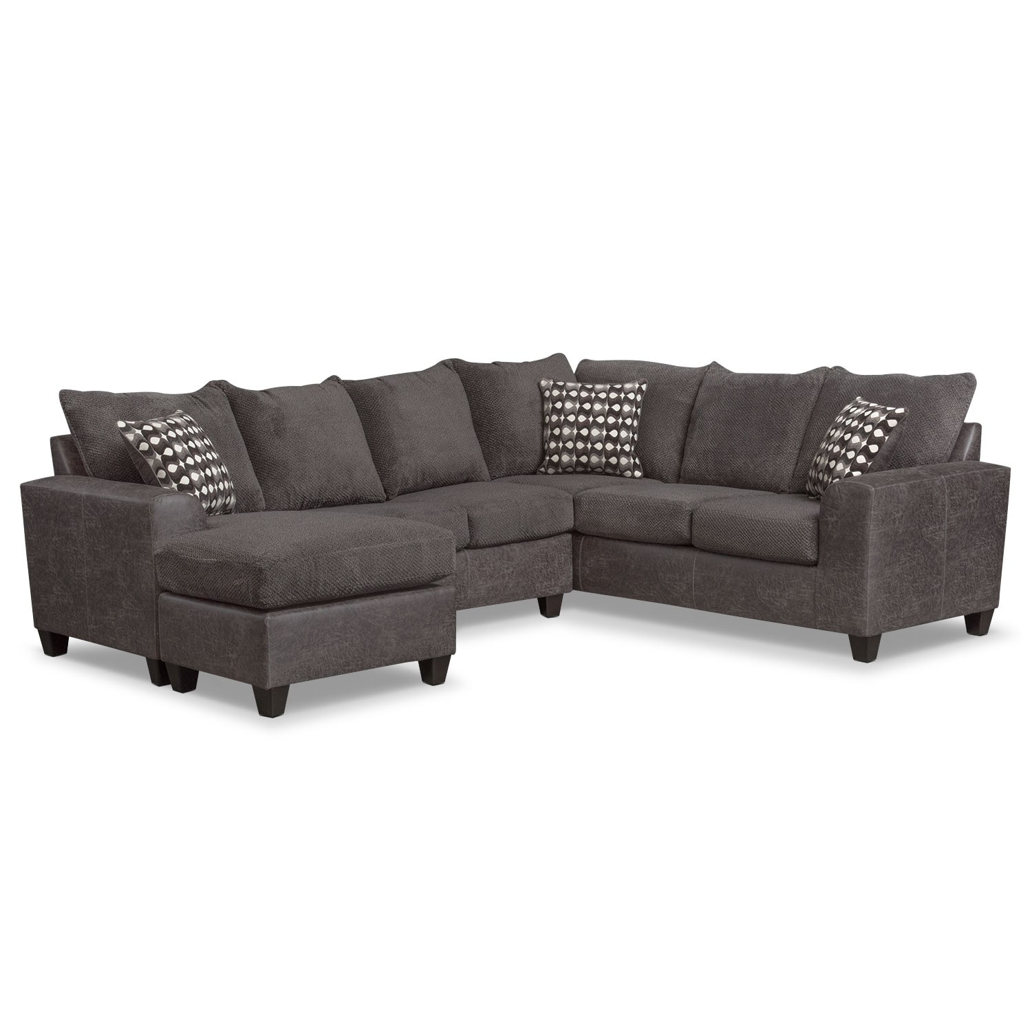 brando 3 piece sectional with modular chaise