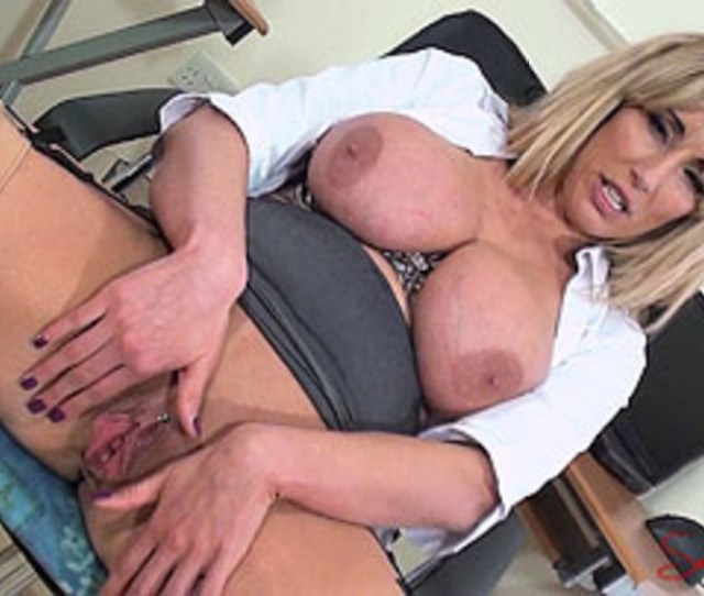 Busty Blonde Office Girl In Sexy Stocking And Bra Showing Her Shaved Pussy