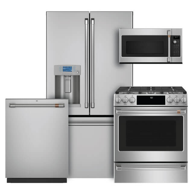 cafe 4 pc pkg cye22tp2ms1 gas 22 2 cu ft counter depth french door refrigerator slide in gas range convection microwave dishwasher