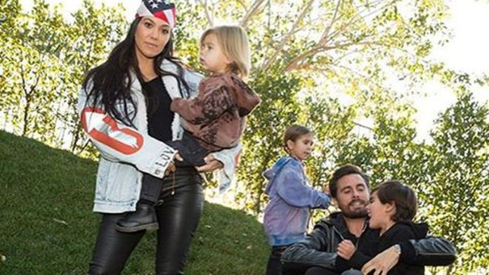 Kourtney Kardashian and Scott Disick with their Kids Reign, Penelope and Mason