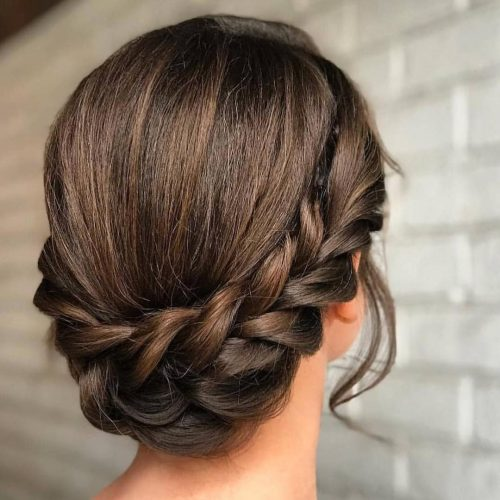 picture of an elegant braided formal easy updo