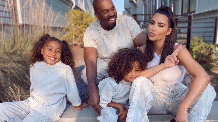 Kim Kardashian with her children North and Saint and husband Kanye West