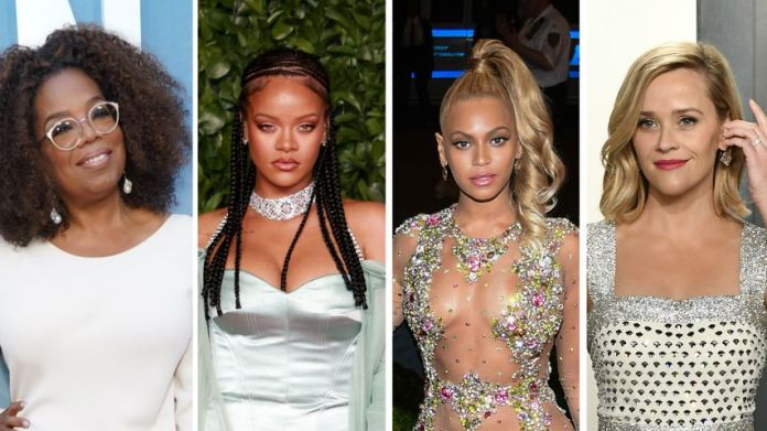 Collage: Oprah Winfrey, Rihanna, Beyonce, and Reese Witherspoon