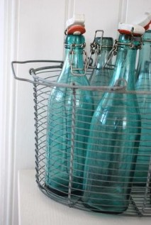 recycled glass blue bottels