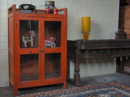 red vintage cabinet