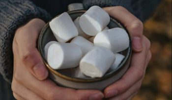 hands cradling marshmallows