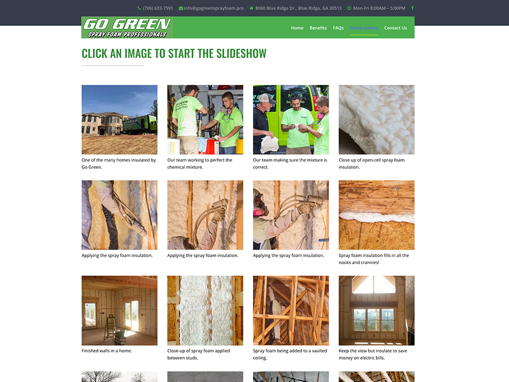 Go Green Spray Foam website sample