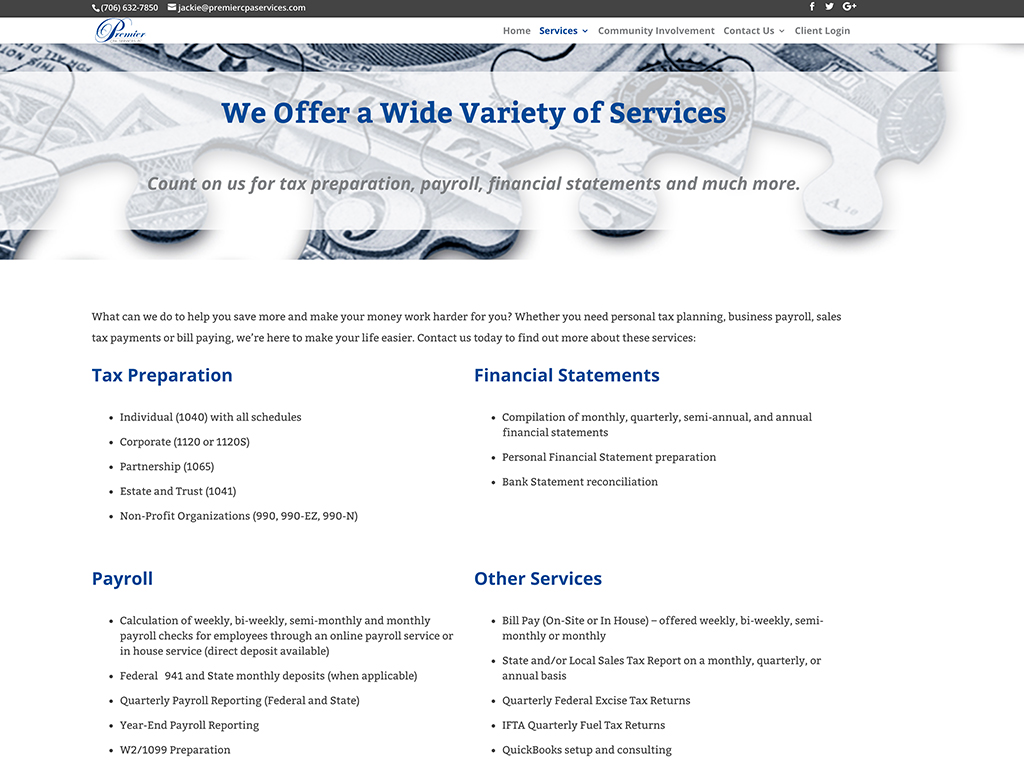 Premier CPA Services website sample