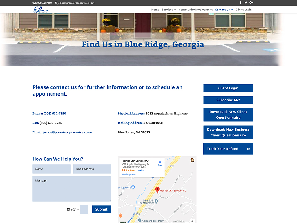 Premier CPA Services website sample
