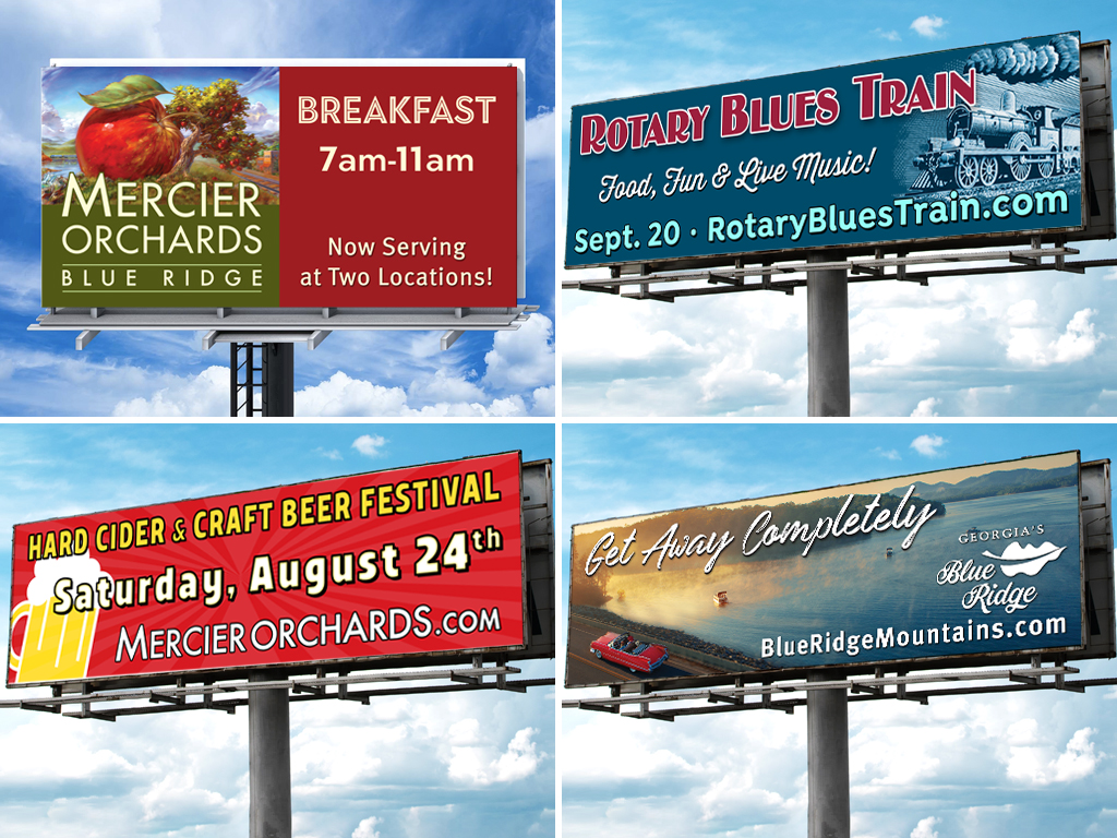 Sample billboards designed by Content Creative
