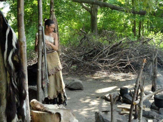 Our interpreter, Shirley, described the matriarchal structure of the Wampanoag society, and how both the men and women worked equally hard, contrary to the English colonists belief that the women did all the work.