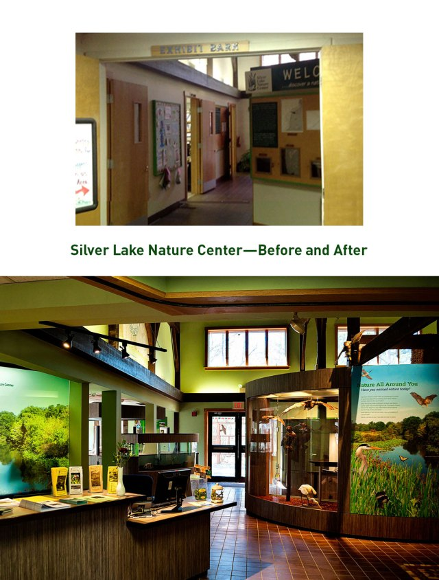 Before and after at Silver Lake Nature Center in Bristol, Pennsylvania