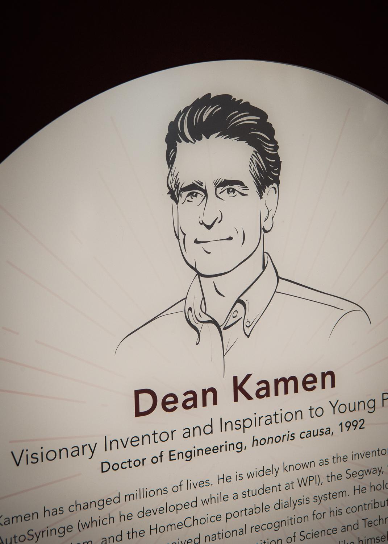 Detail of the permanent plaque dedicated to Dean Kamen.